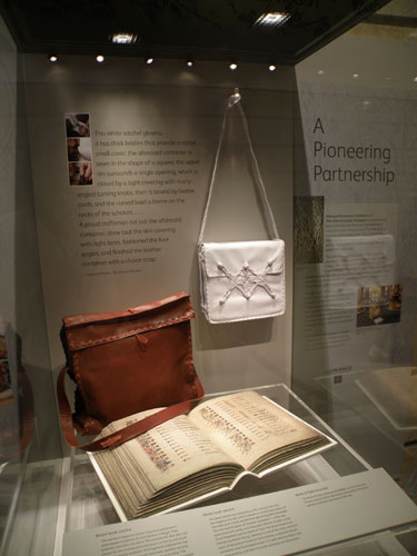 The satchels on display in the National Museum of Scotland