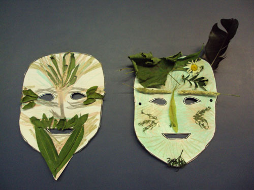 Green Man masks made on Enviro-art day