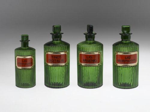 Pharmacy jars for poisons: empty