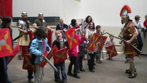 Children dressed up as Roman soldiers
