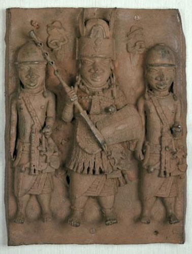 Bronze plaque showing a central figure of an oba or chief flanked by two attendants