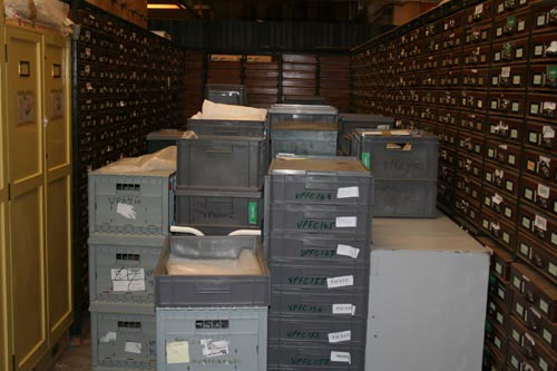 Vertebrate Palaentology crates packed into an older store room. These were taken out of the Royal Museum galleries in 2008.