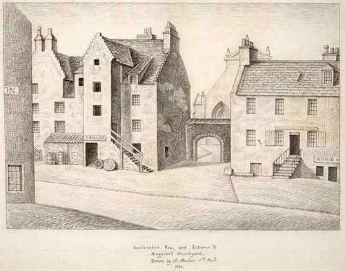 Drawing of Candlemaker's Row and entrance to Greyfriars Churchyard by Alexander Archer, 1836.