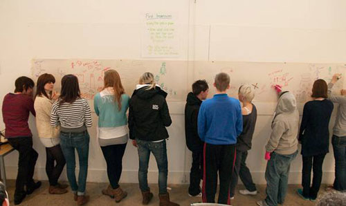 The young people drew images representing what the museum means to them.