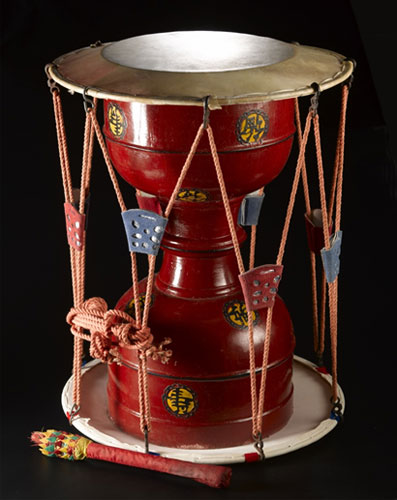 Part of our collection: a Korean drum.