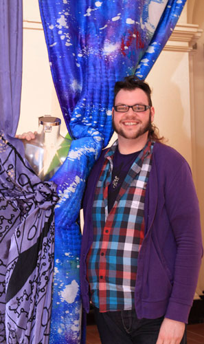 Jamie Bruce with his blue quilted design