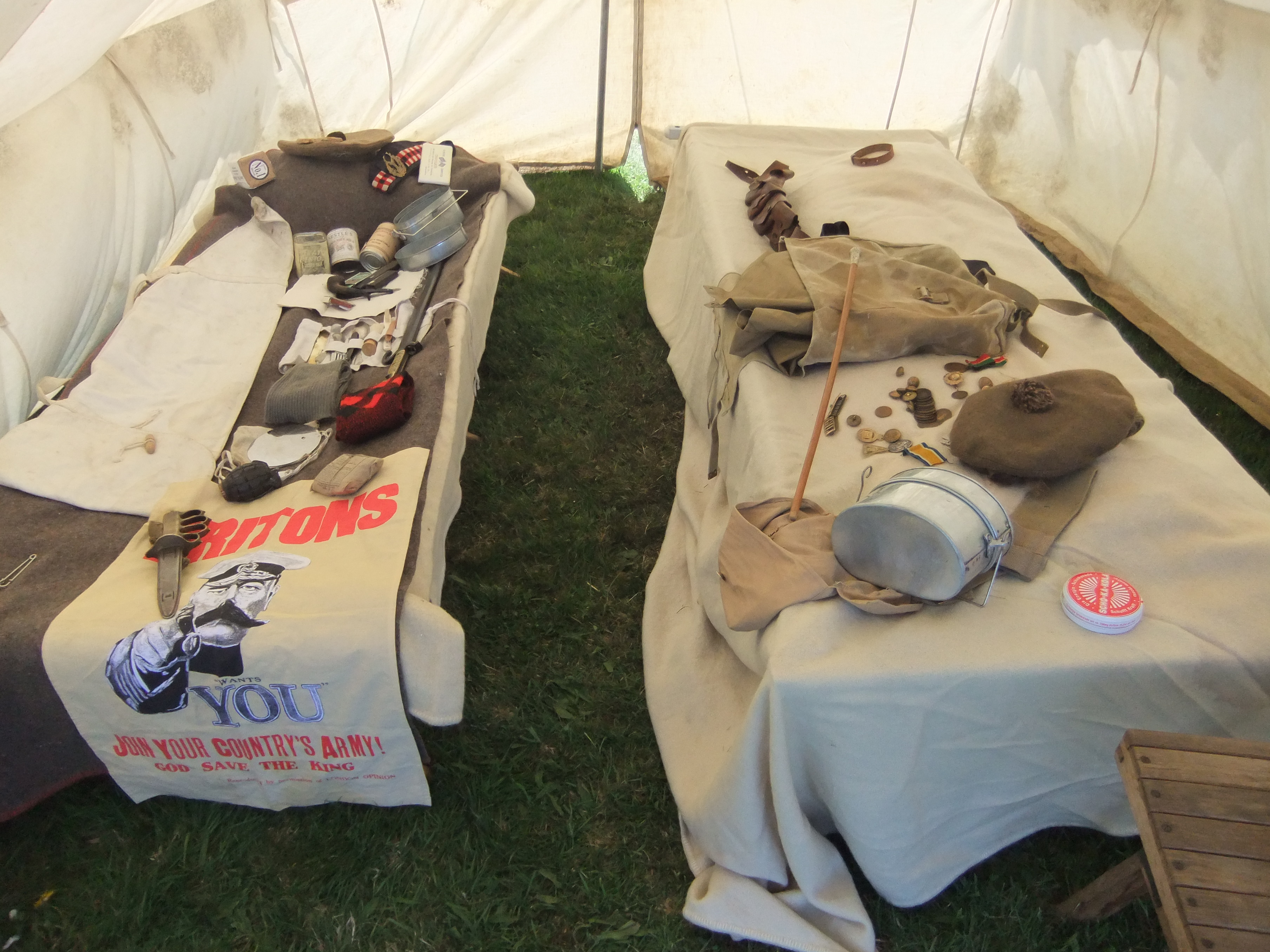 Interior of First World War troop tent