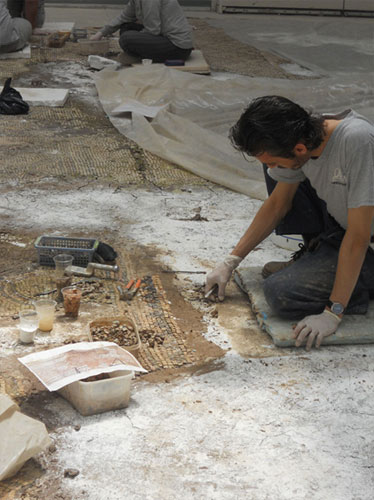 Conservator working on the rescued Zeugma mosaics