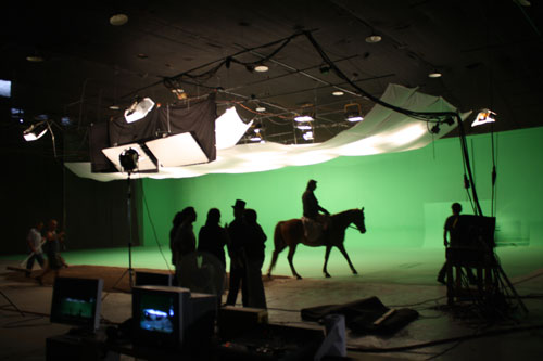 Shooting against a green screen