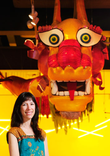 Artist Kim Bergsagel with the Chinese Dragon she created
