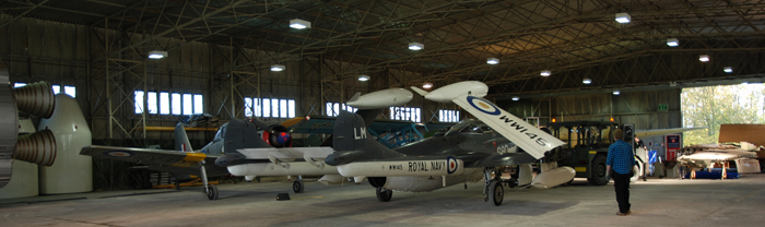 Aircraft during maneourvres in the Restoration Hangar by Mike Lofthus