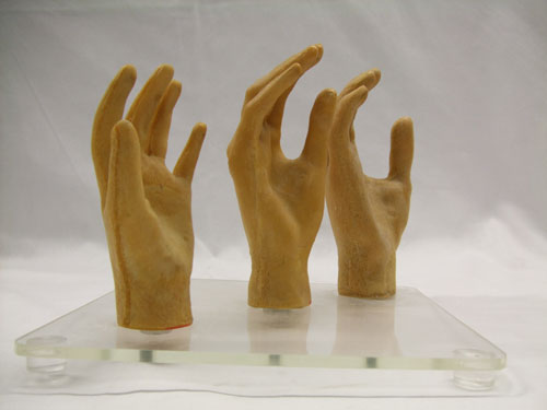 Foam hands without their skins