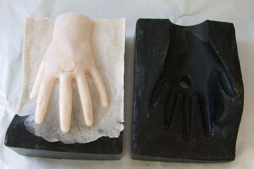 Left foam hand in its original mould