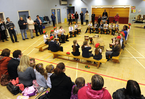 Playing to an audience in the school hall