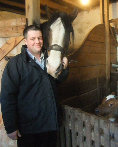Ritchie Young, Farm Manager and Mhairi the Clydesdale