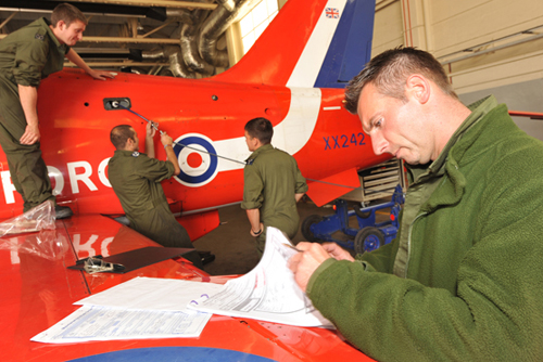 Completing paperwork for maintenance of the Red Arrows © MOD Crown Copyright