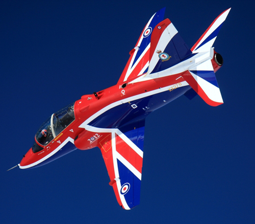 Topside of Hawk T1 XX278 flown by Flight Lieutenant Phil Bird © MOD Crown Copyright