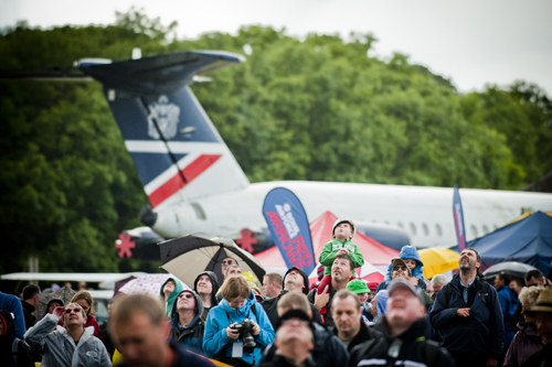 Crowd watching the air display at the Airshow at National Museum of Flight, East Fortune on Sat 28 July 2012