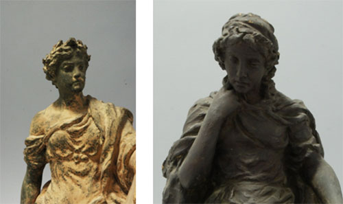 The figure on the left has been overpainted, to give it a bronze effect finish, similar to the figure on the right