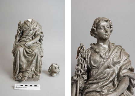 The headless allegorical figure before and during repair