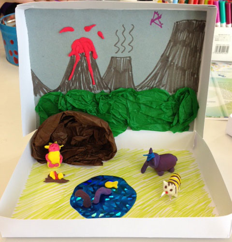 Dinosaur diorama created by our Family Learning Officer