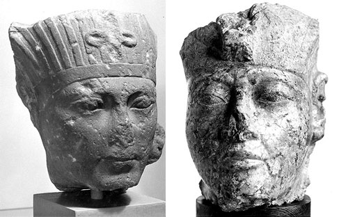 Granite heads that may represent Tutankhamun,  from the collection at National Museums Scotland.
