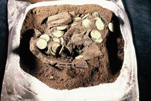 Hoard of coins found at Birnie.