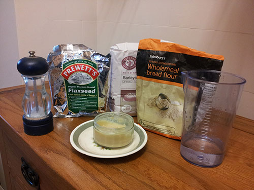 The ingredients we used to make our Viking bread.