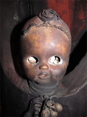 The eye cavities of the sculpture had seemingly been pushed by an unknown hand