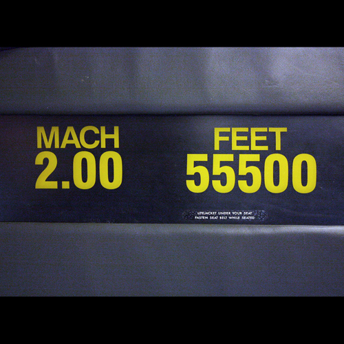 Mach sign on board Concorde G-BOAA, National Museum of Flight, East Fortune © Jenni Sophia Fuchs