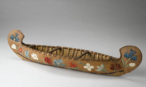 Model canoe of birchbark, Mi'kmaq, collected by John Rae, possibly 1860s. On loan courtesy of the University of Edinburgh Collections.