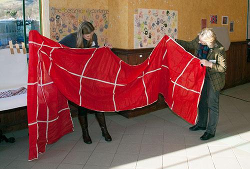 Uncut Turkey red handkerchiefs, brought in by Robert Friel. Photo by Graeme Yule.