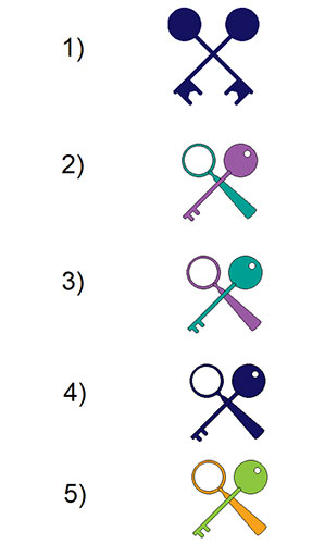 Key and magnifying glass motifs.