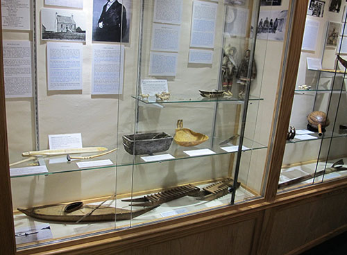 Display of Inuit material with items from the Stromness Museum's collection