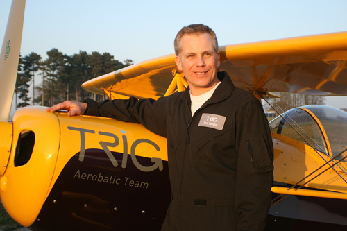 Dave Puleston, No.2, pilot with Trig Aerobatic Team displaying at the Airshow, National Museum of Flight, East Fortune