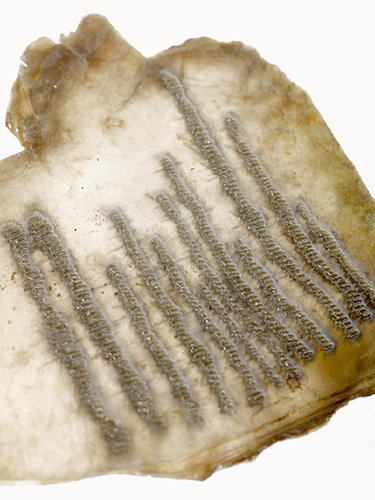 'Book' of mica etched by Ilana