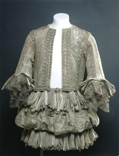 Doublet and trunk hose of silk and silver tissue, worn by the 6th Duke of Lennox: English, c. 1665