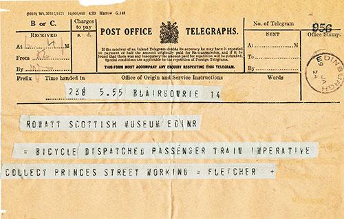 Telegram sent to the Royal Scottish Museum