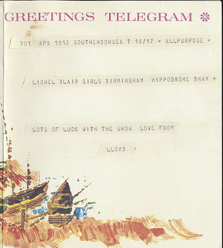 Sending love: message from Lloyd to his girlfriend, a Lionel Blair girl, sent in 1973
