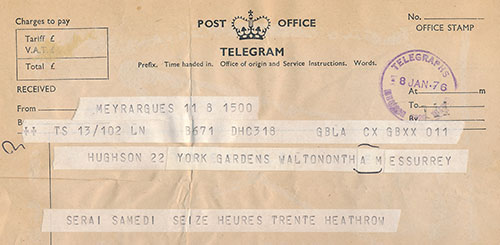 Lending a helping hand: telegram from a grandmother announcing her arrival at Heathrow, 1976.