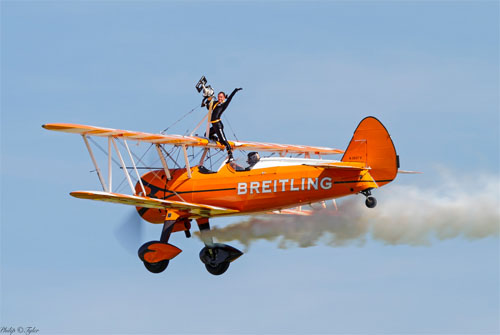Breitling Wingwalker by Philip Tyler. Taking part in the air display for the Airshow on Sat 27 July National Museum of Flight, East Fortune