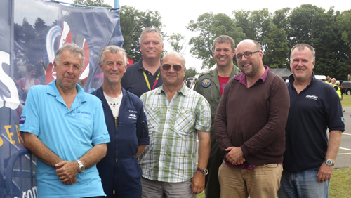 Norm Webster, Flying Display Director, Dave Bolsover, Flying Control Committee, Jonathan Smith, Air Traffic Controller, Steve LeVien, Air Traffic Controller, BenDunnell, Commentator and Tom Gibbons, Ops Officer after the air display at the Airshow, National Museum of Flight, East Fortune on Saturday 27 July 2013
