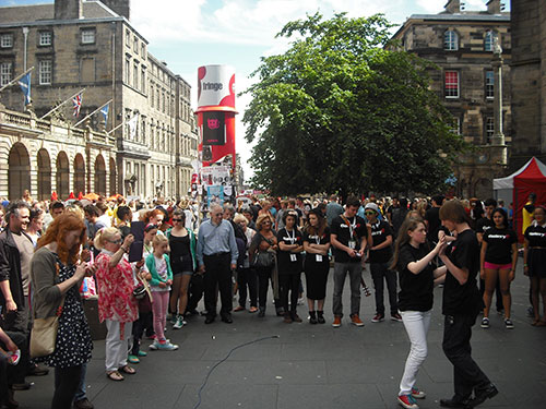 Dance performance on the Royal Mile