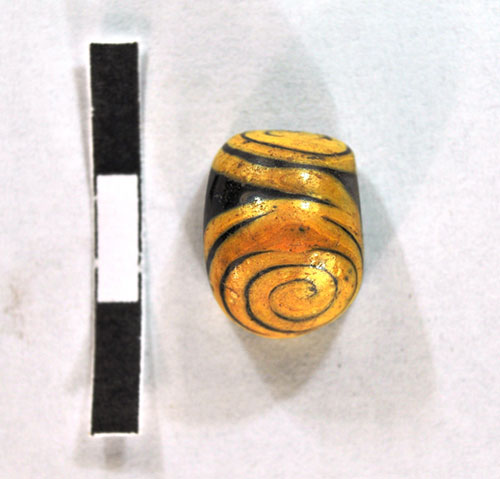 One of the early finds: an Iron Age glass bead