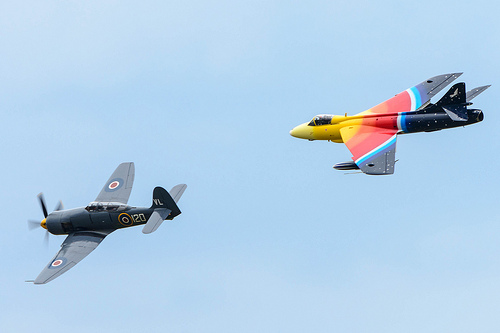 Miss Demeanour Hawker Hunter and Sea Fury at the Airshow, National Museum of Flight, East Fortune on Saturday 27 July 2013 © Spencer Harbar