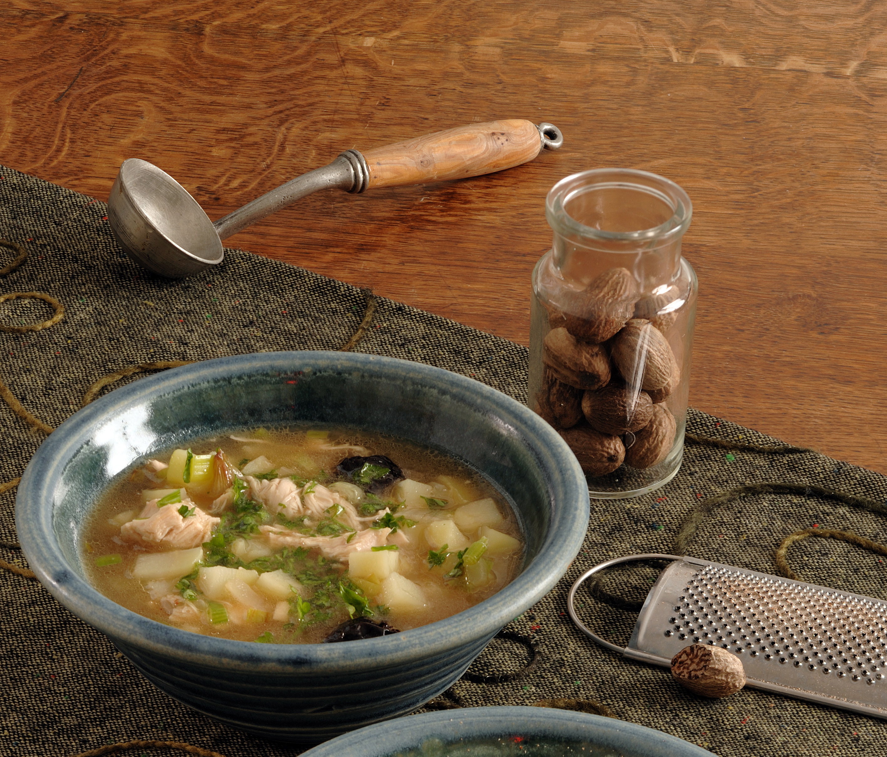 Cock-a-leekie soup and other Scottish recipies will be demonstrated by Wendy Barrie at Burns Unbound!