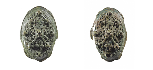 Tortoise brooches found at the Broch of Gurness, Orkney