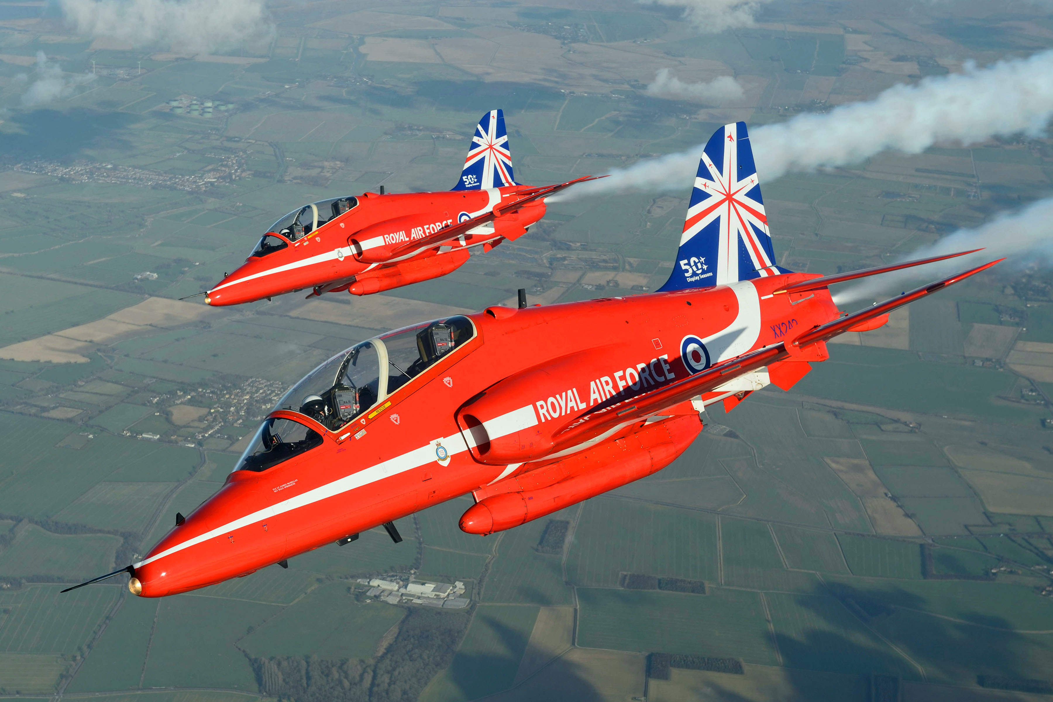 RAF Red Arrows display with 50th anniversary new tail fin © Jamie Hunter.