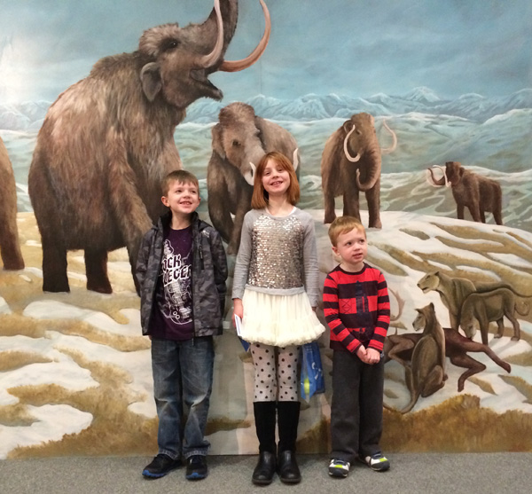Morag with her friends from Boston, USA when they came to visit Mammoths of the Ice Age exhibition at National Museum of Scotland.