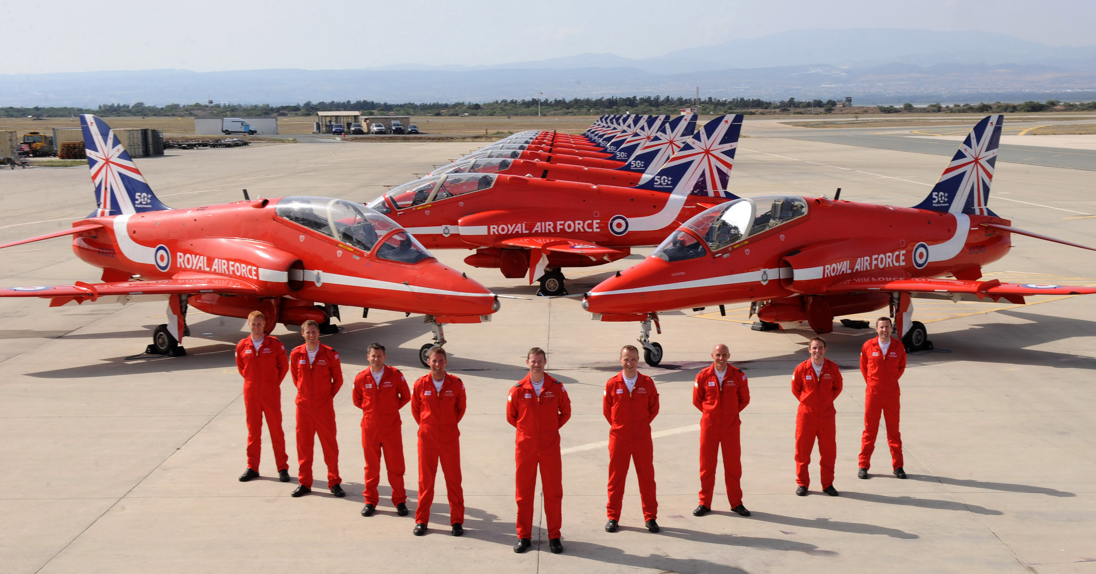 "Royal Air Force Areobatic Team ""The Red Arrows"" on Springhawk 2104 at RAF Akrotiri, Cyprus. © Crown copyright 2014"